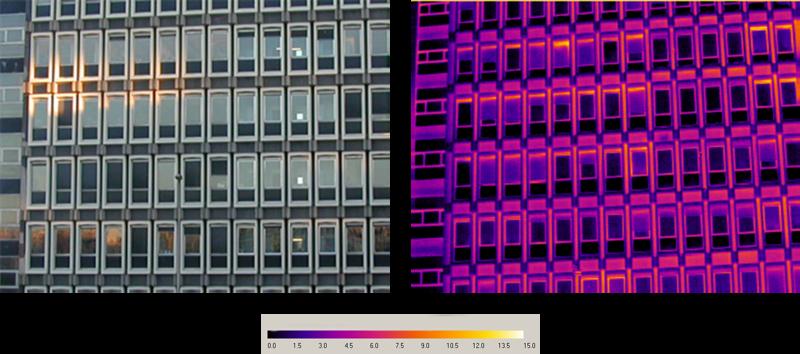 Slechte isolatie doet het gebouw opgloeien op de infraroodbeelden