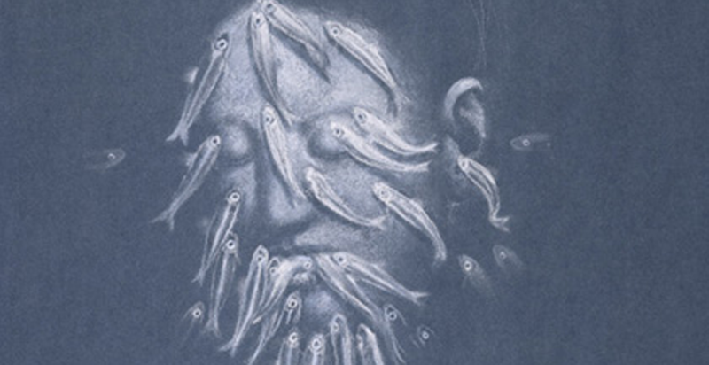 (detail). Crayon on blue paper - 58,1 x 41,9 cm. (2005). Private collection Zwitserland