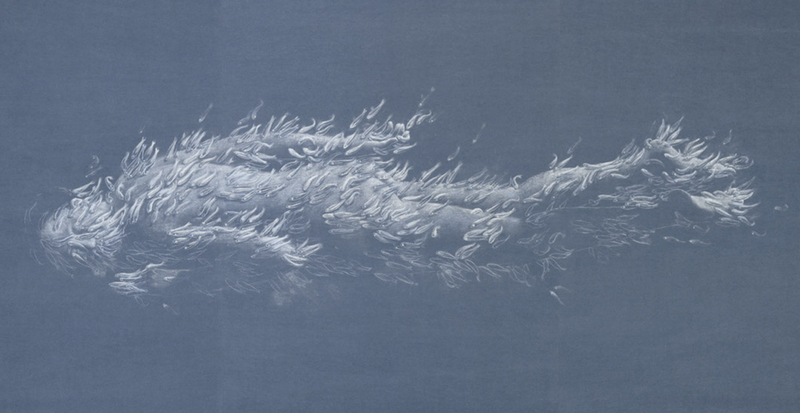 Crayon on blue paper - 107,3 x 285,3 cm  (2005). Collection of the artist