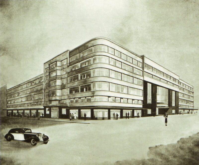 Flageygebouw, eerste ontwerp van Joseph Diongre, 1933