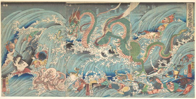 """Recovering the Stolen Jewel from the Palace of the Dragon King"" (1853).Utagawa Kuniyoshi"