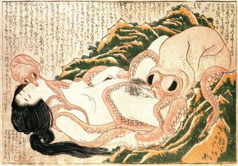De Droom van de Vissersvrouw (1814).  Katsushika Hokusai.