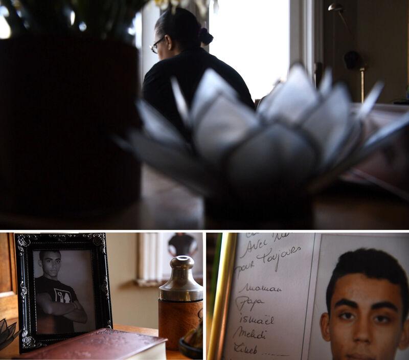 Foto's in Saliha's huis houden de herinnering aan Sabri levend voor het hele gezin.