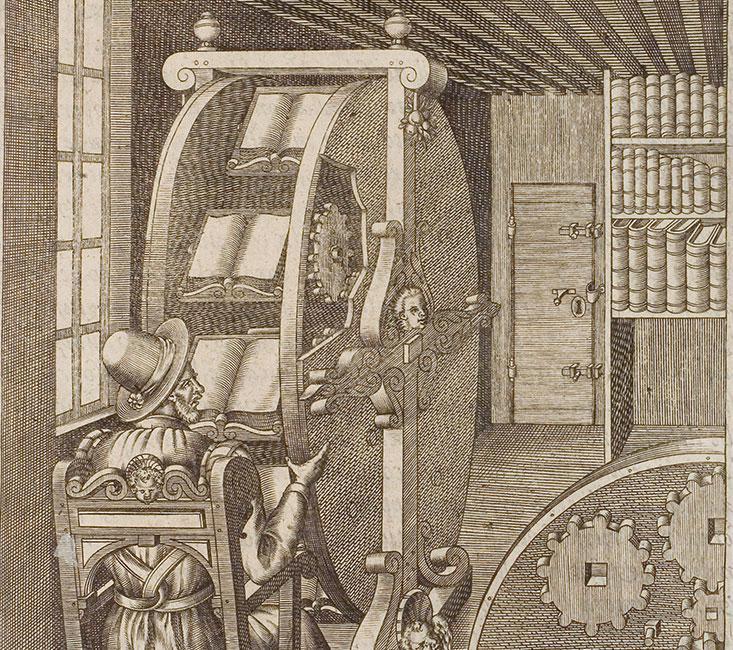 Het boekenwiel van Agostino Ramelli (1588). Lezers konden met een draai aan het wiel switchen tussen boeken.