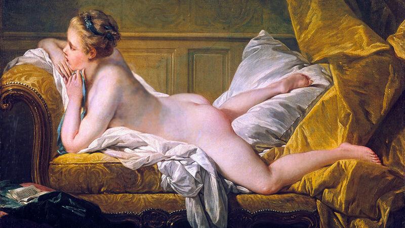 François Boucher: eerste versie van Jeune fille couchée (1751)