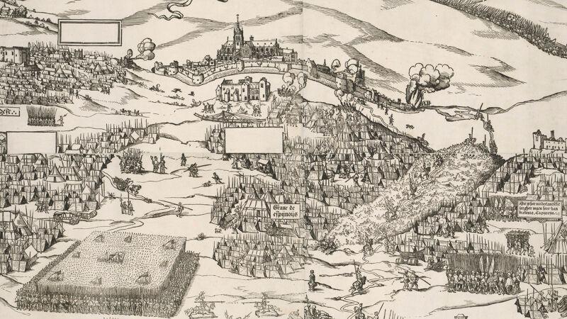 Houtsnede met het beleg van Terwaan, 1537. De voorstelling van de stad is hier min of meer waarheidsgetrouw