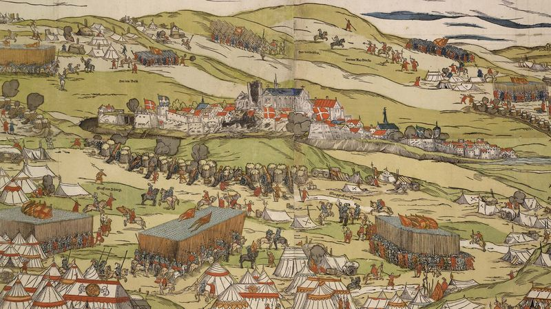 Terwaan tijdens de beschietingen, 1553. De kathedraal is al deels vernield