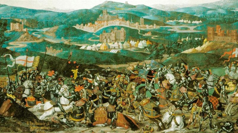 Bataille des Éperons, 1513. In de achtergrond zie je Terwaan