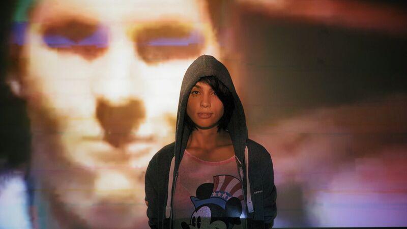 Nadya Tolokonnikova van Pussy Riot, met op de achtergrond de zanger van de legendarische Britse punkgroep Sham 69