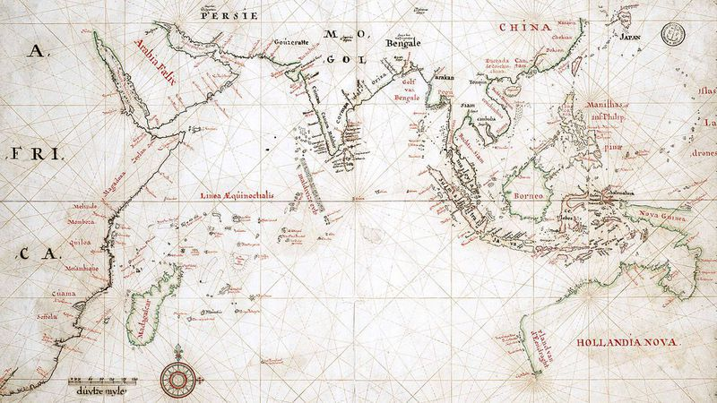 VOC-kaart uit 1665 met aanduiding van Australië, 'Hollandia Nova' genoemd