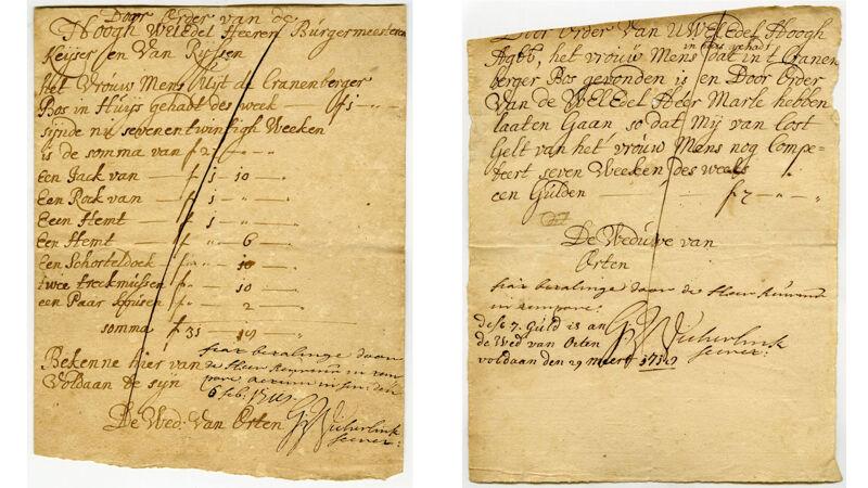 Kwitanties uit februari en maart 1718