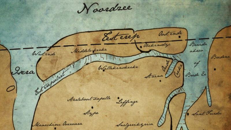 Oude cartografische schets van Testerep (de zwarte stippellijn geeft min of meer de huidige kustlijn aan)
