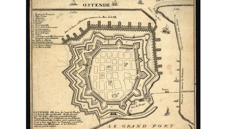 Oostende ca. 1700. De strook met het oude stadsdeel is verdwenen onder de vestingwerken