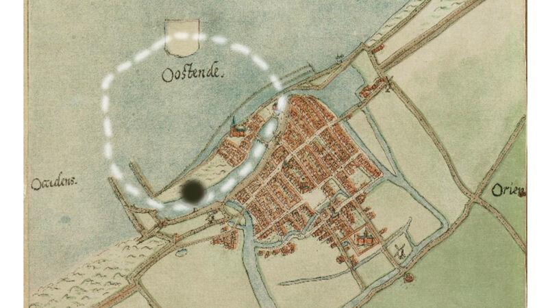 Oude kaart van Oostende (1560), de witte stippellijn duidt de ligging van de oude stad aan, onderaan de nieuwe stad, op de zwarte stip ligt nu het casino