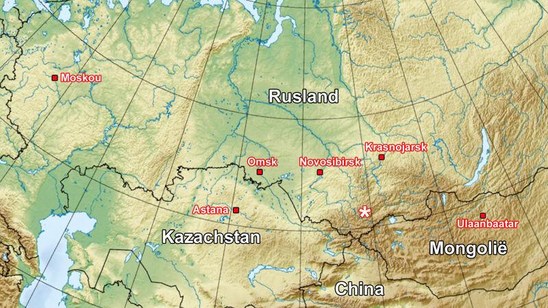 Kaart van Rusland: de ster duidt de Lykov-nederzetting aan