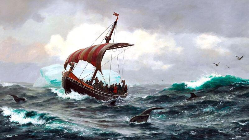 Carl Rasmussen (1841-1893): Vikingschip aan de Groenlandse kust