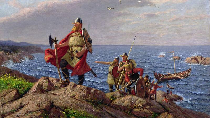 Hans Dahl (1849-1937): Leif Eirikson landt in Amerika