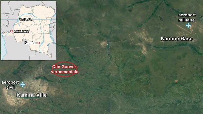 Ligging van de Cité Gouvernementale bij Kamina