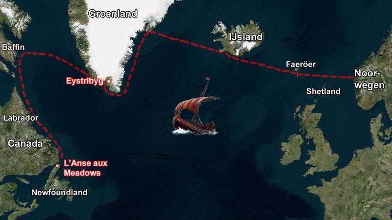 Traject van de Vikingschepen vanuit Noorwegen via de Shetlands en de Faeröer naar IJsland en Groenland tot in Amerika