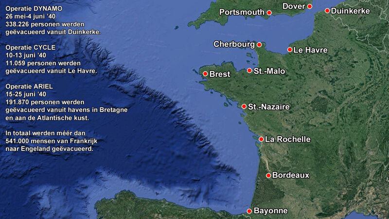 Franse en Britse havens die een rol speelden bij de evacuaties