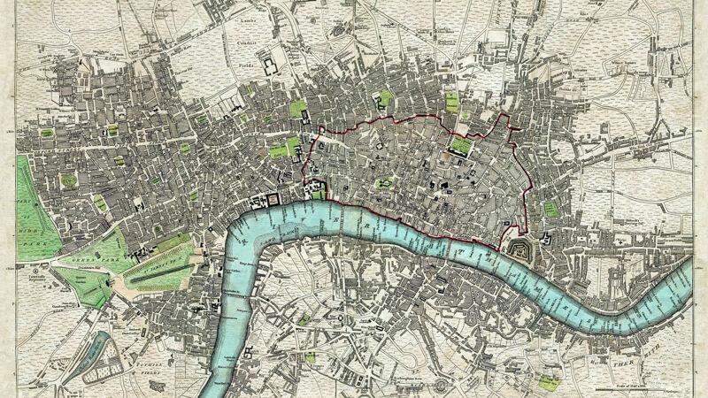 Kaart van Londen, uitgegeven door Robert Sayer in 1792