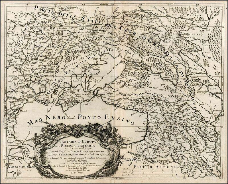 Kaart met het grondgebied van de Russische en Oekraïense Kozakken
