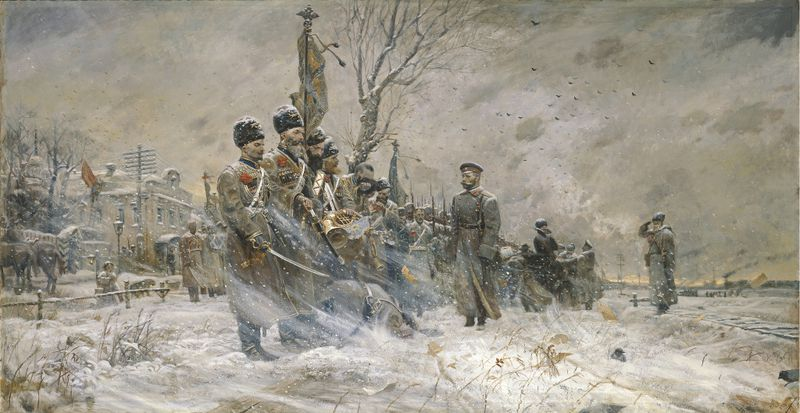 Tsaar Nicolaas II inspecteert de Kozakken