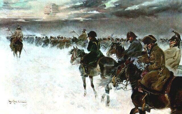 Het leger van Napoleon trekt terug uit Rusland