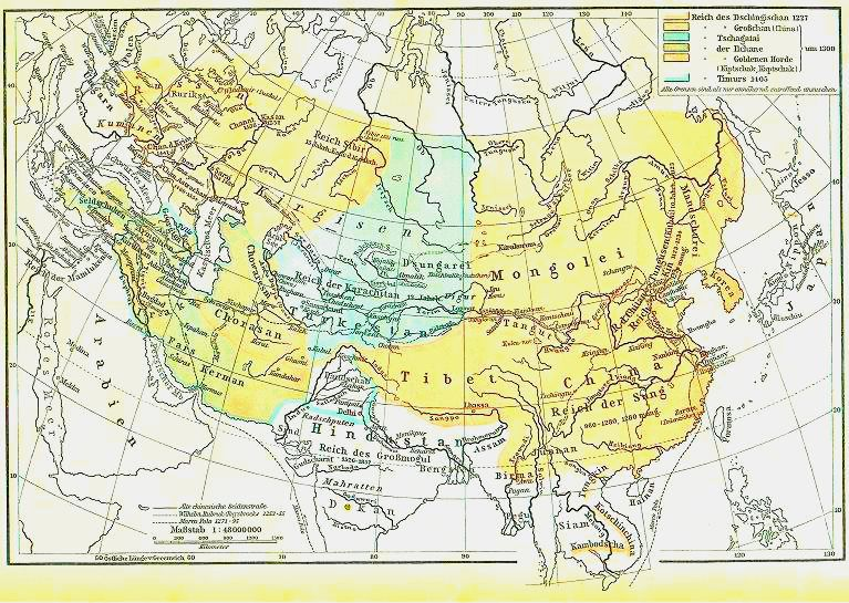 Het Mongoolse wereldrijk in 1227