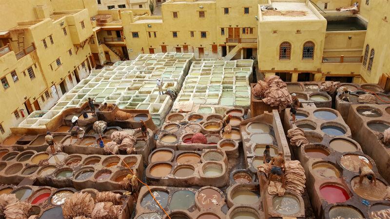 De leerlooierij in Fez
