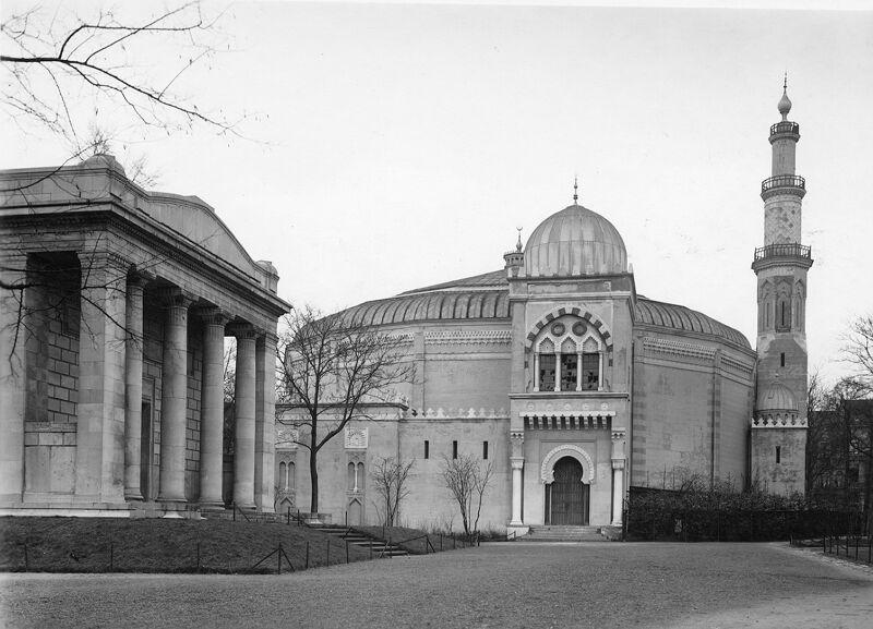 Zicht op de voorzijde van het oorspronkelijke paviljoen