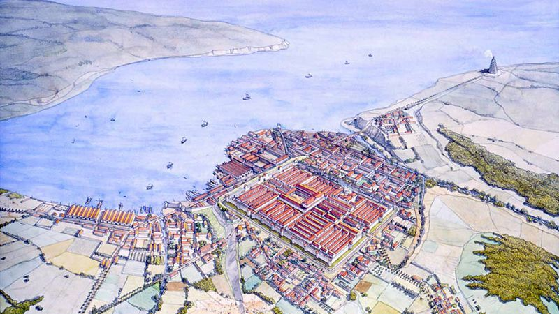Reconstructietekening van Gesoriacum (Boulogne-sur-Mer)