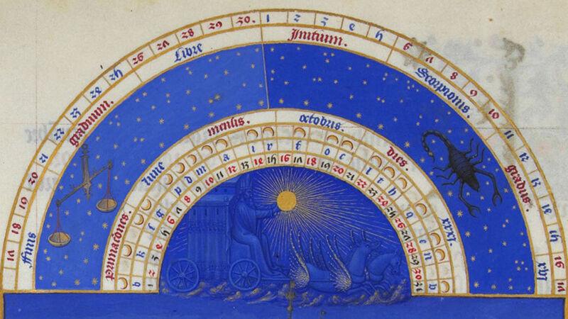 Kalenderblad Oktober uit Middeleeuws handschrift 'Très Riches Heures de Berry'