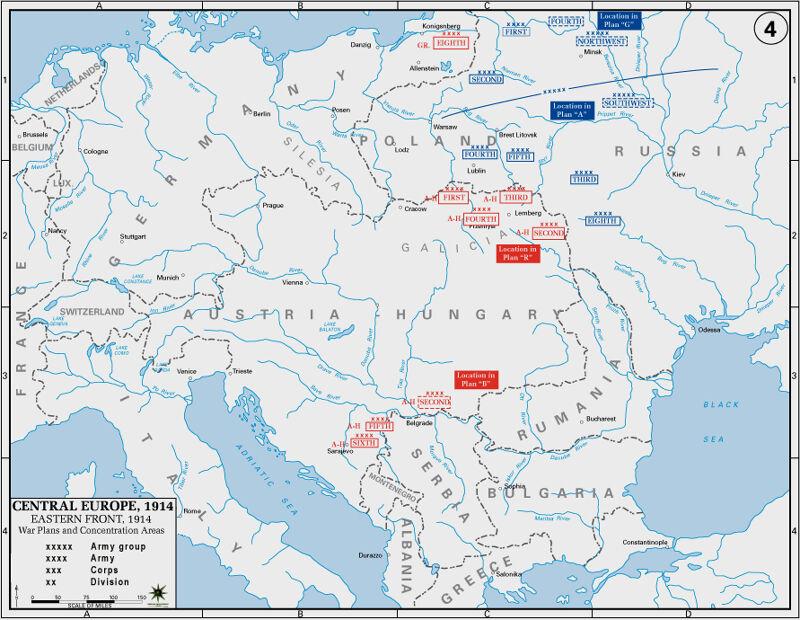 Het frontverloop in 1914