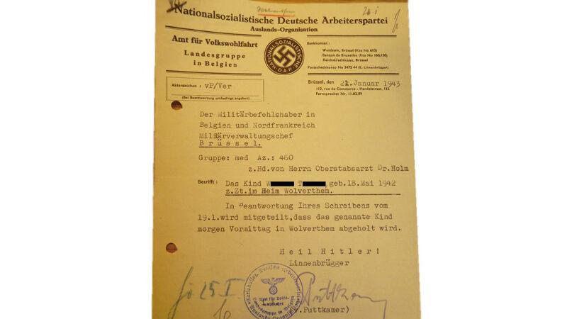 Nazi-document met vermelding van het Mütterheim van Wolvertem
