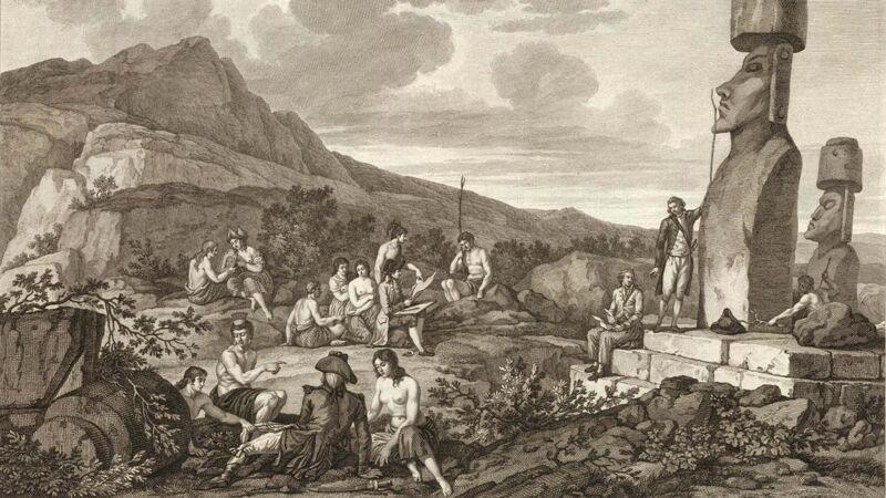 Franse prent van de expeditie La Pérouse, 1786.