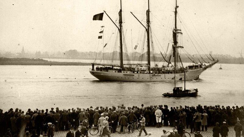 De aankomst van de Mercator in Antwerpen.