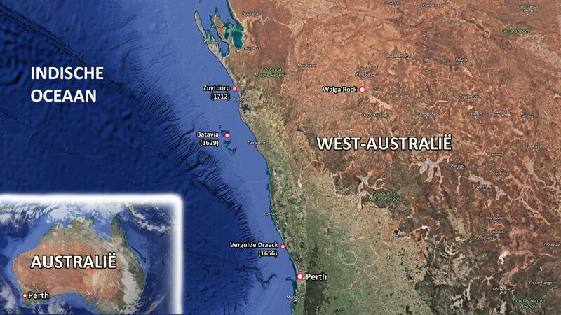 Kaart van West-Australië met aanduiding van plaatsen waar Hollandse schepen schipbreuk leden