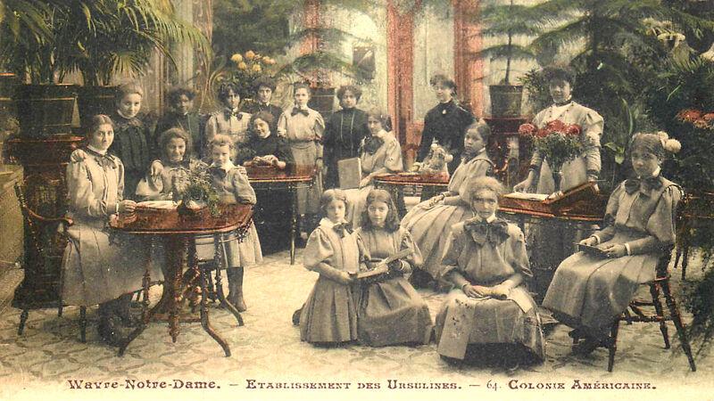 Amerikaanse scholieren, poserend in de Wintertuin (postkaart uit 1911)