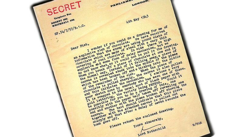 Brief van MI5-baas Rothschild aan tekenaar Fish over de chocolade-bom