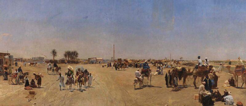 Schilderij (voorstudie) van Emile Wauters: Zicht op Caïro (1880)