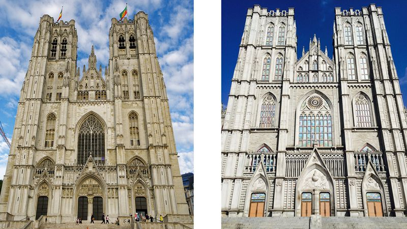 Zoek de verschillen tussen de kathedraal van Brussel (links) en de Kyung Hee University in Seoel (rechts)