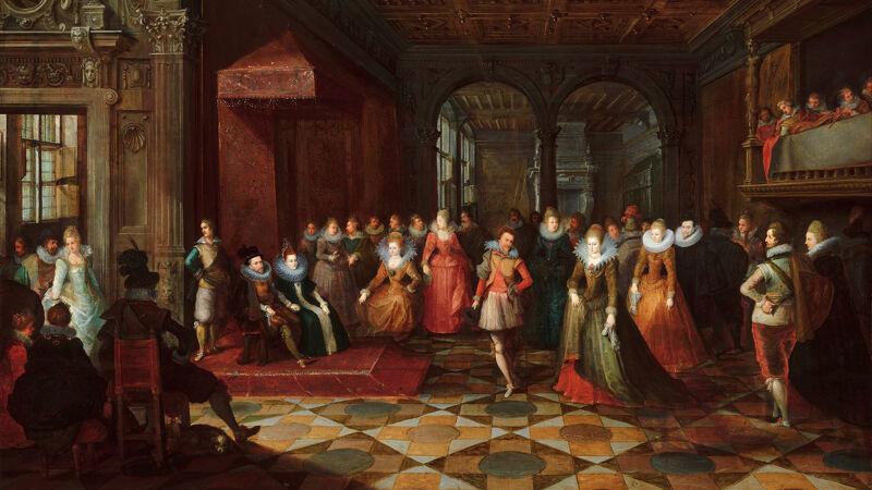 Bal aan het hof te Brussel: het dansende paar zou Filips Willem en zijn echtgenote Eleonora voorstellen