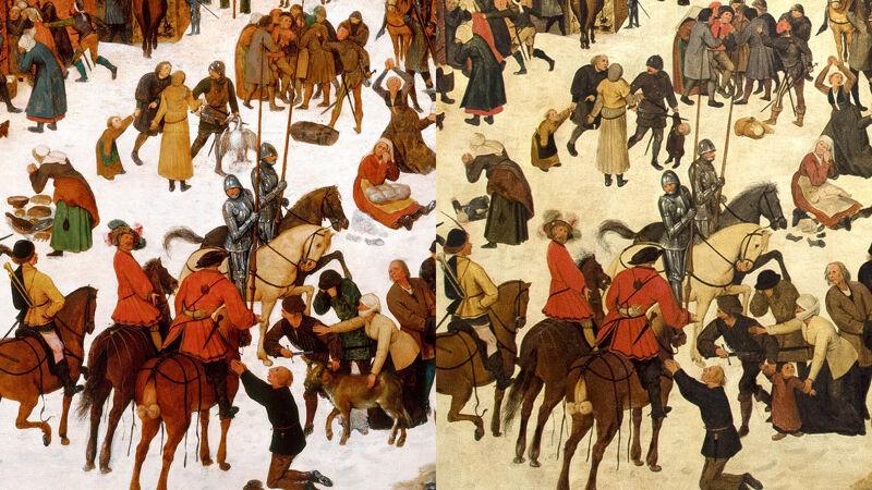 Links de overschilderde versie, rechts het oorspronkelijke, bloederige tafereel