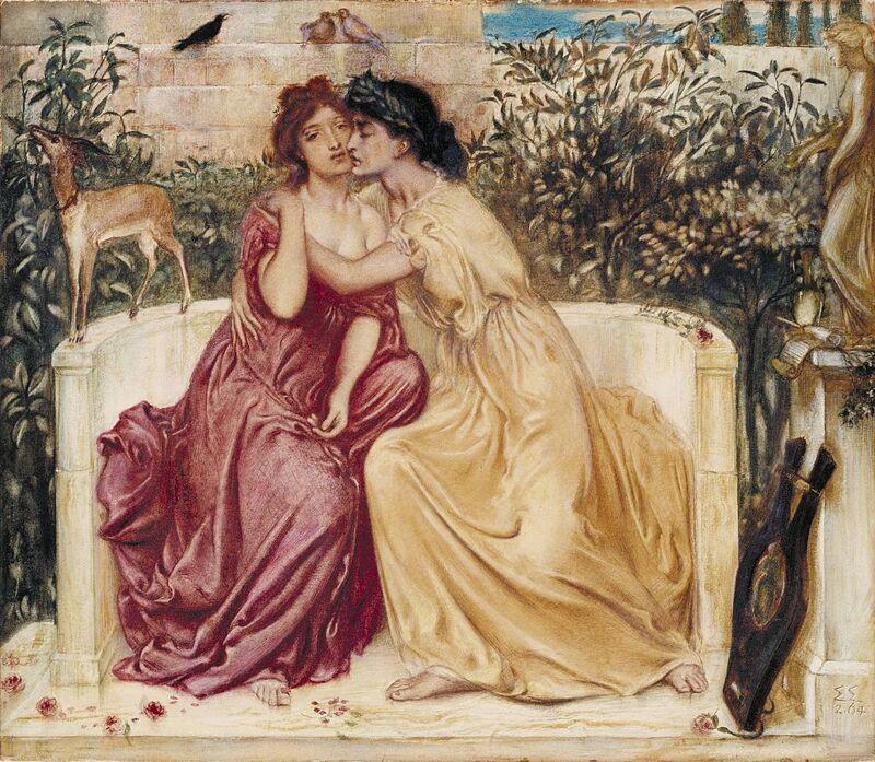 Sappho en Erinna in een tuin in Mytilene op Lesbos door Simeon Solomon (1864)