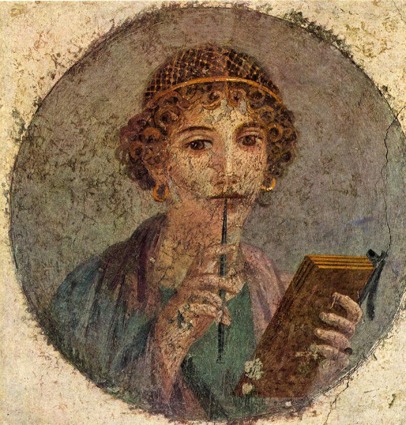 Fresco van een vrouw uit de hogere klasse in Pompeï'. Het fresco werd gevonden in 1760 en kreeg de naam 'Sappho'