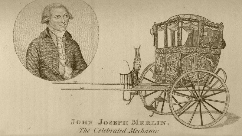 Mechanical Chariot, rijtuig van Merlin (op deze oude prent is het mechanisme niet zichtbaar)