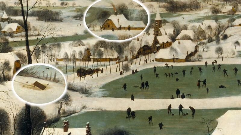 Links zie je de vogelval, achteraan de brandende schouw en centraal op de vijvers: schaatsers, hockey- en curlingspelers