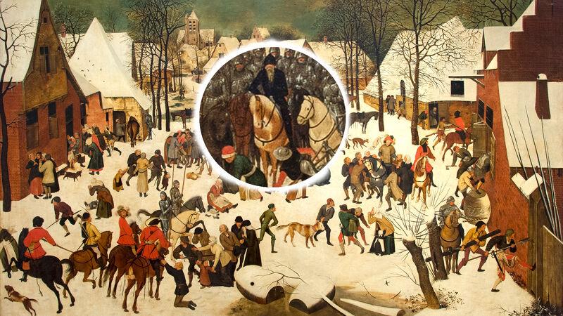 Pieter Bruegel de Jonge: Kindermoord in Betlehem (kopie naar zijn vader). Is de figuur in de cirkel Alva?