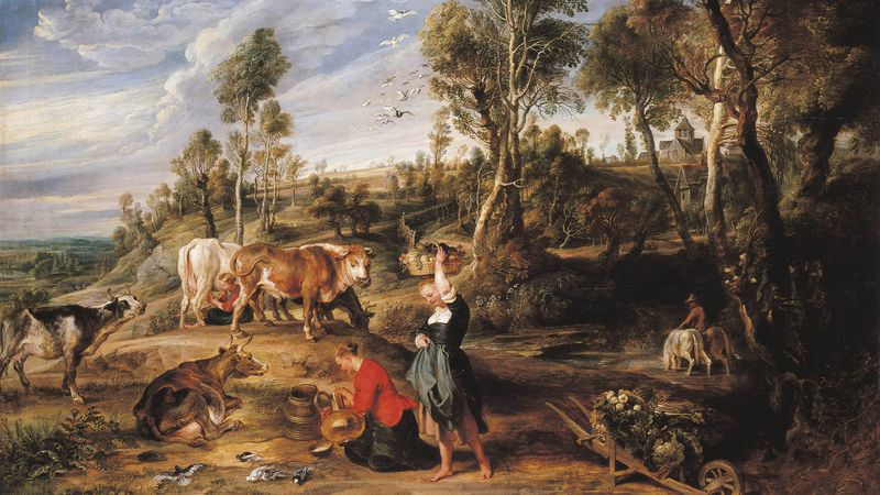 Pieter Paul Rubens: Landschap te Laken (ca. 1617). Wat opvalt is het landelijk karakter. Achteraan rechts ligt de O.-L.-Vrouwekerk van Laken